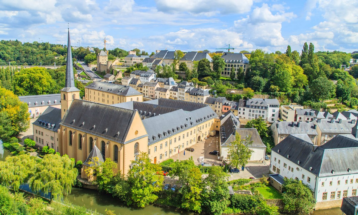 Lake, buildings, and trees in Luxembourg City