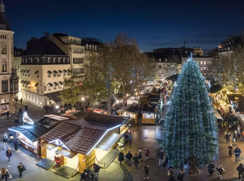 Aerial view on Luxembourgish Christmas market
