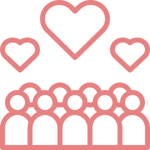 Hearts and people icon