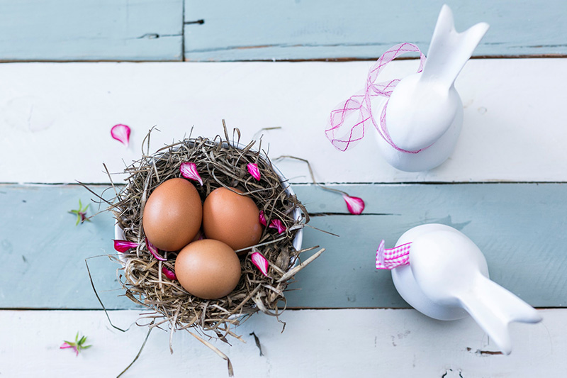 Nest with Easter eggs and two toy bunnies